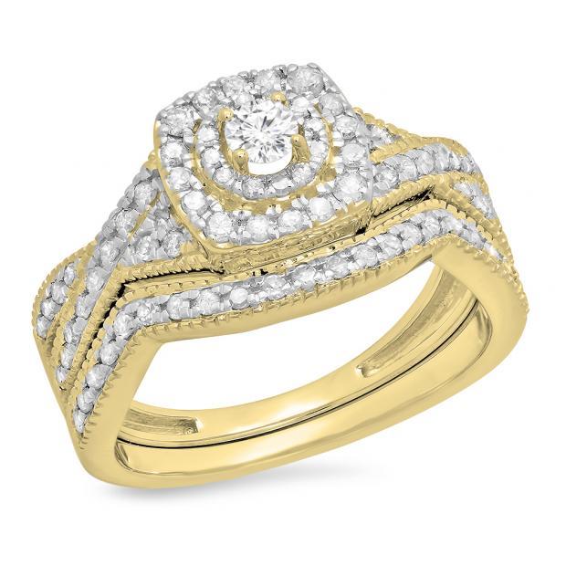 0.60 Carat (ctw) 14K Yellow Gold Round Cut White Diamond Ladies Bridal Swirl Halo Style Split Shank Engagement Ring With Matching Band Set
