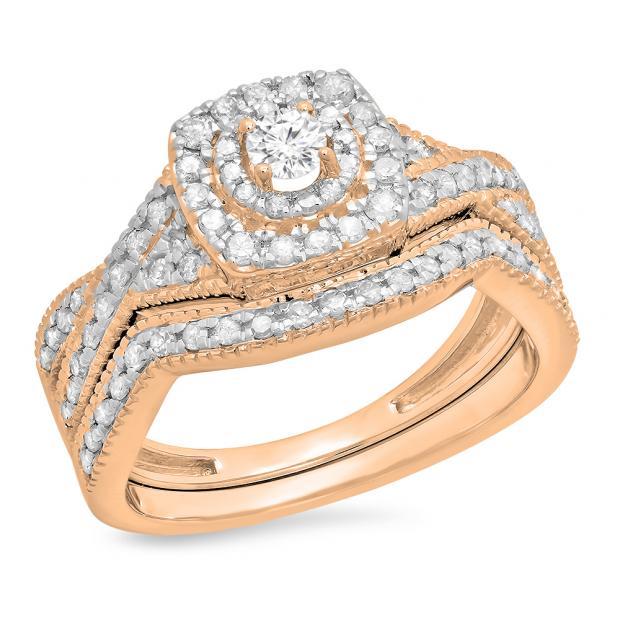 0.60 Carat (ctw) 18K Rose Gold Round Cut White Diamond Ladies Bridal Swirl Halo Style Split Shank Engagement Ring With Matching Band Set