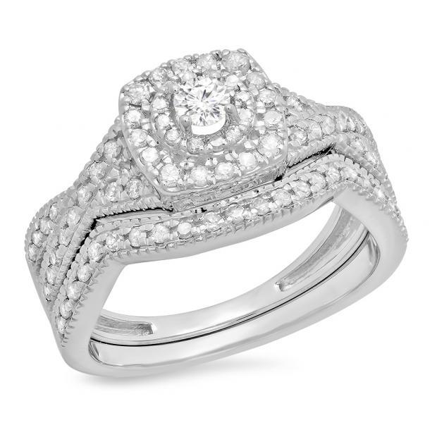 0.60 Carat (ctw) 18K White Gold Round Cut White Diamond Ladies Bridal Swirl Halo Style Split Shank Engagement Ring With Matching Band Set