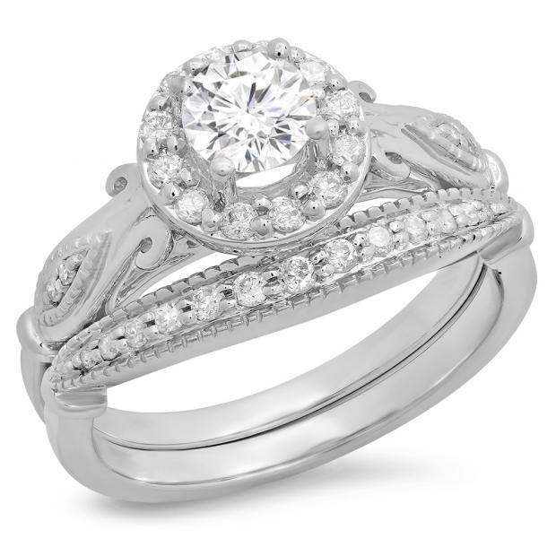 0.90 Carat (ctw) 14K White Gold Round Cut White Diamond Ladies Bridal Halo Vintage Style Engagement Ring With Matching Band Set