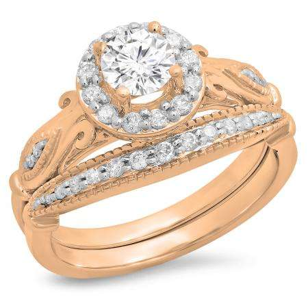 0.90 Carat (ctw) 18K Rose Gold Round Cut White Diamond Ladies Bridal Halo Vintage Style Engagement Ring With Matching Band Set