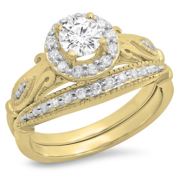 0.90 Carat (ctw) 18K Yellow Gold Round Cut White Diamond Ladies Bridal Halo Vintage Style Engagement Ring With Matching Band Set