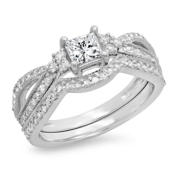 1.00 Carat (ctw) 18K White Gold Princess & Round Cut White Diamond Ladies Bridal Split Shank Engagement Ring With Matching Band Set 1 CT
