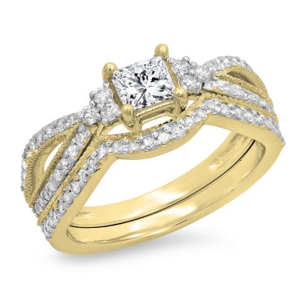 1.00 Carat (ctw) 18K Yellow Gold Princess & Round Cut White Diamond Ladies Bridal Split Shank Engagement Ring With Matching Band Set 1 CT