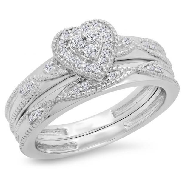 0.25 Carat (ctw) 10K White Gold Round Cut White Diamond Ladies Bridal Heart Shaped Engagement Ring With Matching Band Set 1/4 CT