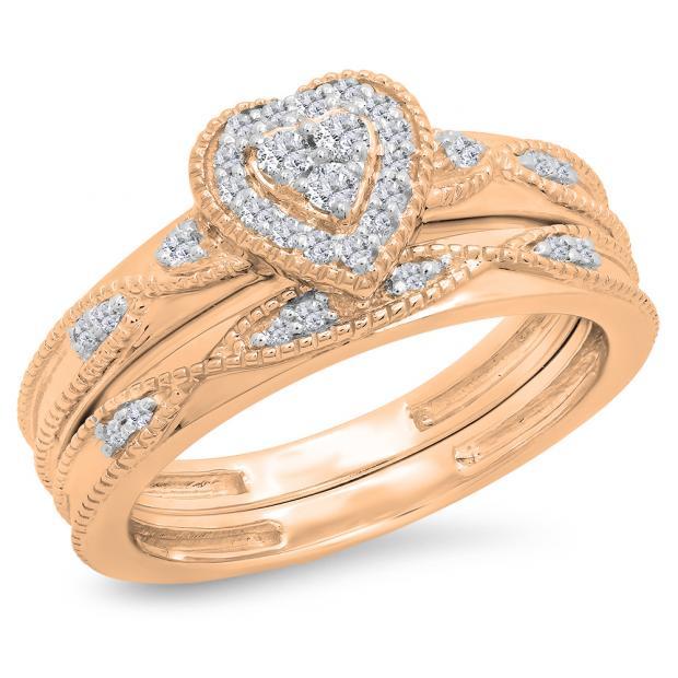 0.25 Carat (ctw) 14K Rose Gold Round Cut White Diamond Ladies Bridal Heart Shaped Engagement Ring With Matching Band Set 1/4 CT