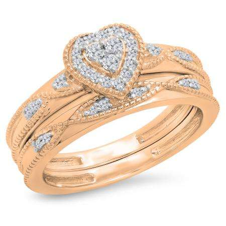 0.25 Carat (ctw) 18K Rose Gold Round Cut White Diamond Ladies Bridal Heart Shaped Engagement Ring With Matching Band Set 1/4 CT