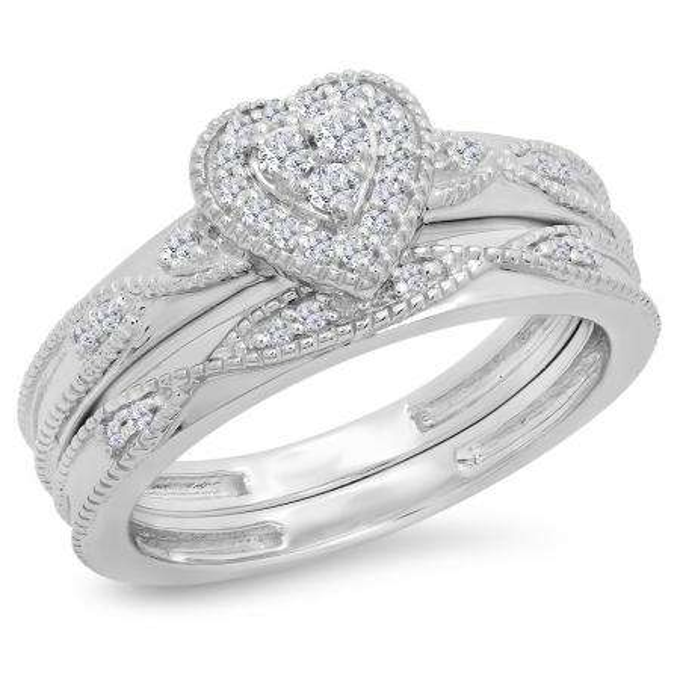 0.25 Carat (ctw) 18K White Gold Round Cut White Diamond Ladies Bridal Heart Shaped Engagement Ring With Matching Band Set 1/4 CT