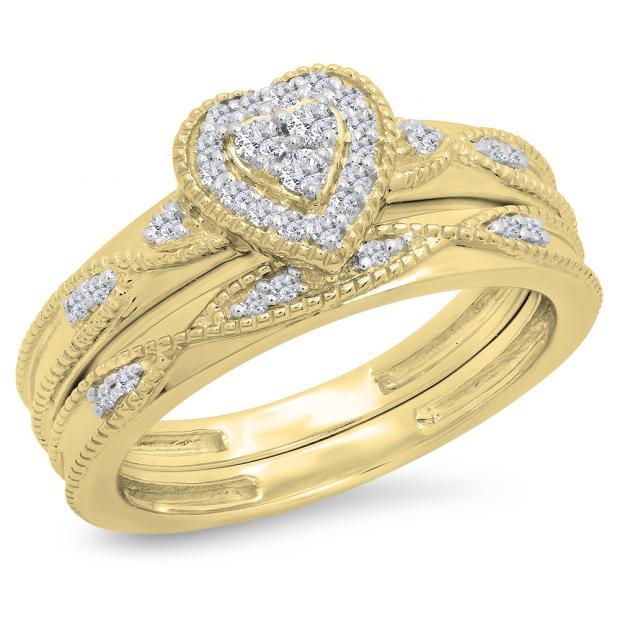 0.25 Carat (ctw) 18K Yellow Gold Round Cut White Diamond Ladies Bridal Heart Shaped Engagement Ring With Matching Band Set 1/4 CT
