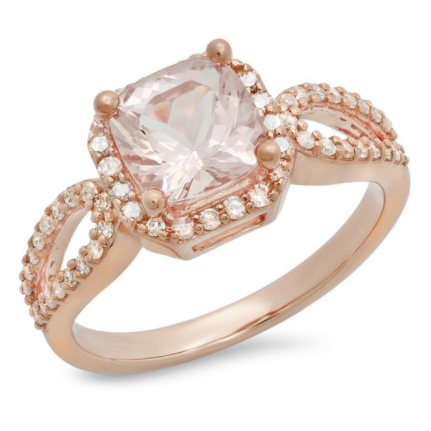 1.60 Carat (ctw) 14K Rose Gold Cushion Morganite & Round White Diamond Ladies Bridal Halo Style Split Shank Engagement Ring