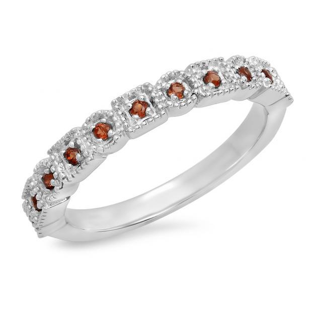 0.20 Carat (Ctw) 10K White Gold Round Garnet Ladies Vintage Style Anniversary Wedding Eternity Band Stackable Ring 1/5 CT