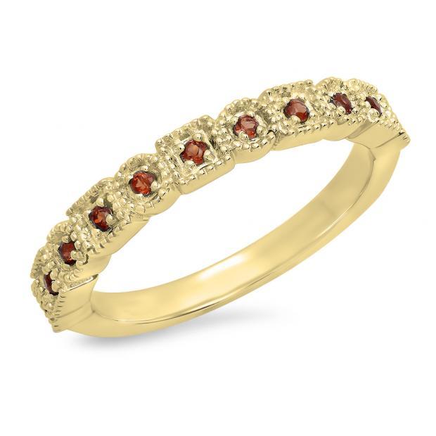 0.20 Carat (Ctw) 10K Yellow Gold Round Garnet Ladies Vintage Style Anniversary Wedding Eternity Band Stackable Ring 1/5 CT