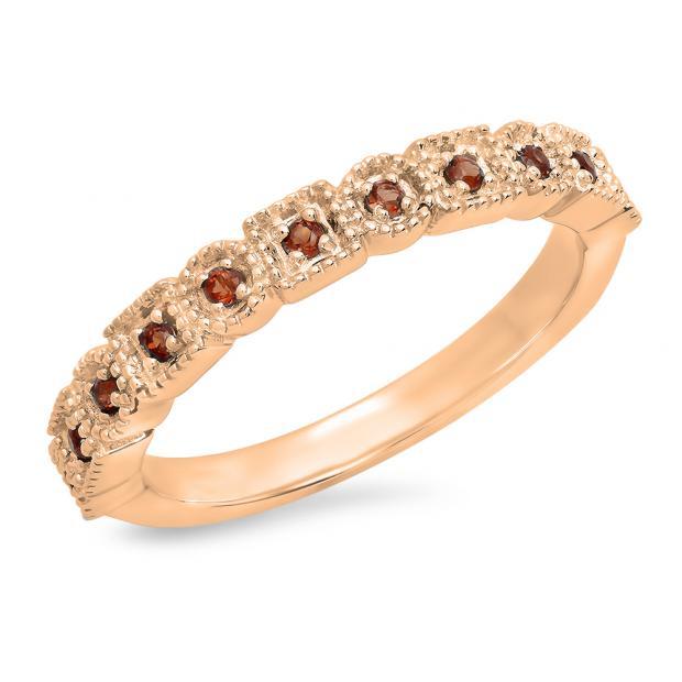 0.20 Carat (Ctw) 18K Rose Gold Round Garnet Ladies Vintage Style Anniversary Wedding Eternity Band Stackable Ring 1/5 CT