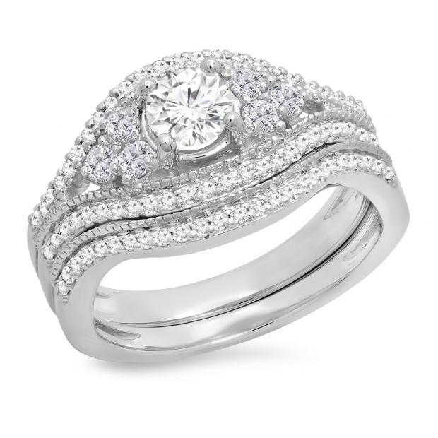 1.10 Carat (ctw) 10K White Gold Round Cut White Diamond Ladies Bridal Engagement Ring With Matching Band Set 1 CT