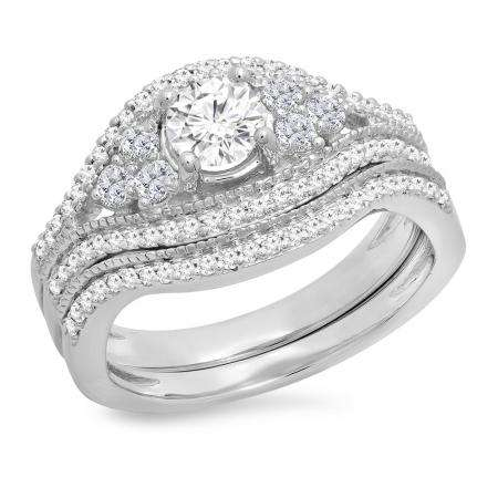1.10 Carat (ctw) 18K White Gold Round Cut White Diamond Ladies Bridal Engagement Ring With Matching Band Set 1 CT