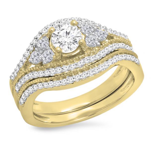 1.10 Carat (ctw) 18K Yellow Gold Round Cut White Diamond Ladies Bridal Engagement Ring With Matching Band Set 1 CT