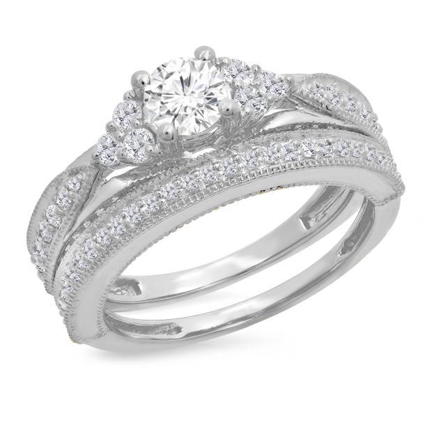 1.45 Carat (ctw) 10K White Gold Round Cut White Diamond Ladies Bridal Engagement Ring With Matching Band Set 1 1/2 CT