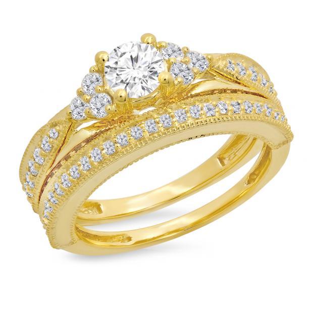 1.45 Carat (ctw) 10K Yellow Gold Round Cut White Diamond Ladies Bridal Engagement Ring With Matching Band Set 1 1/2 CT
