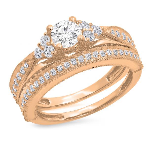 1.45 Carat (ctw) 14K Rose Gold Round Cut White Diamond Ladies Bridal Engagement Ring With Matching Band Set 1 1/2 CT