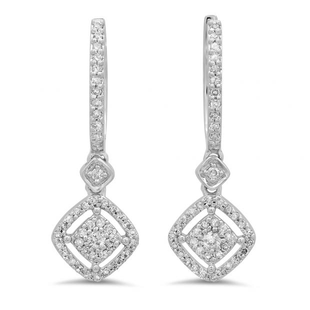 0.45 Carat (ctw) 10K White Gold Round White Diamond Ladies Cluster Dangling Drop Earrings 1/2 CT