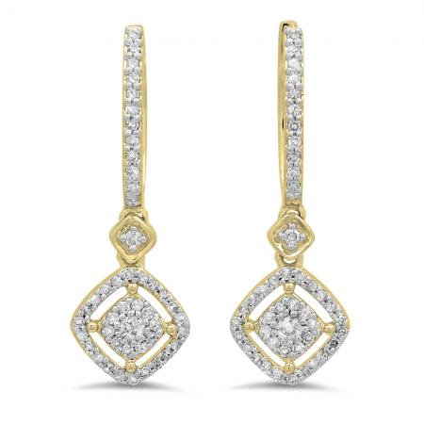 0.45 Carat (ctw) 14K Yellow Gold Round White Diamond Ladies Cluster Dangling Drop Earrings 1/2 CT