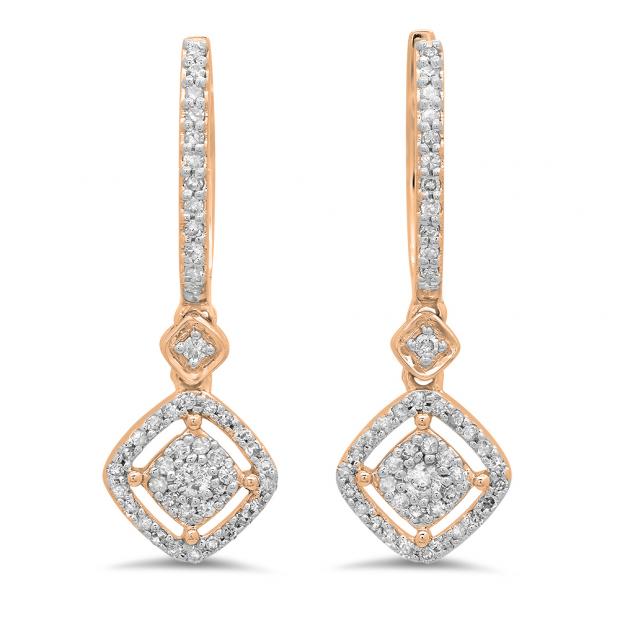 0.45 Carat (ctw) 18K Rose Gold Round White Diamond Ladies Cluster Dangling Drop Earrings 1/2 CT
