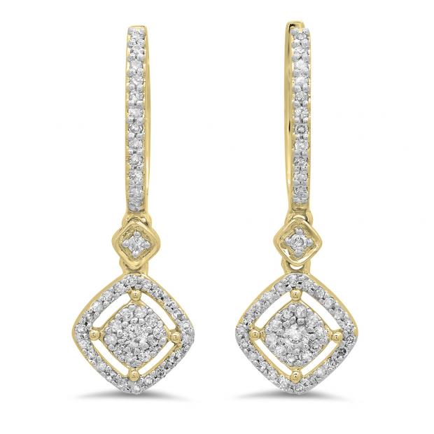 0.45 Carat (ctw) 18K Yellow Gold Round White Diamond Ladies Cluster Dangling Drop Earrings 1/2 CT