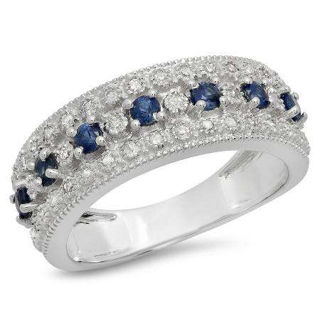 0.65 Carat (Ctw) 10K White Gold Round Blue Sapphire & White Diamond Ladies Bridal Anniversary Wedding Band Ring