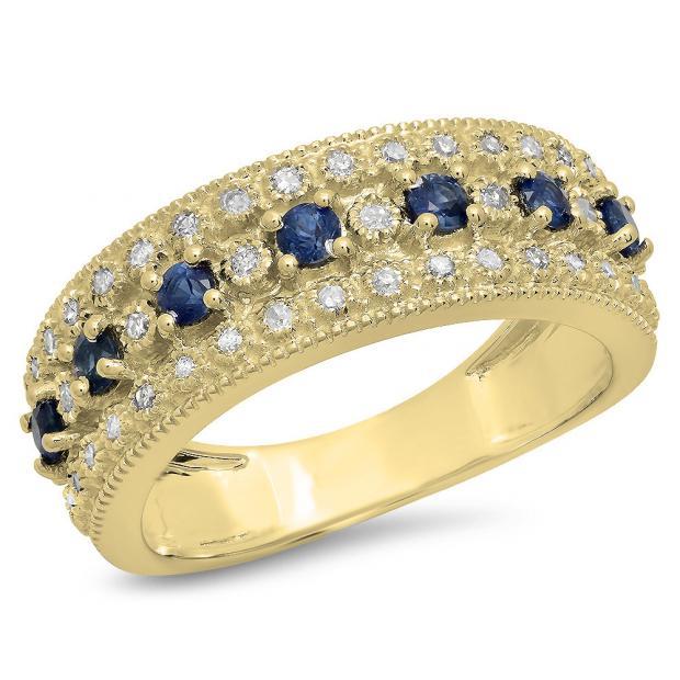 0.65 Carat (Ctw) 10K Yellow Gold Round Blue Sapphire & White Diamond Ladies Bridal Anniversary Wedding Band Ring