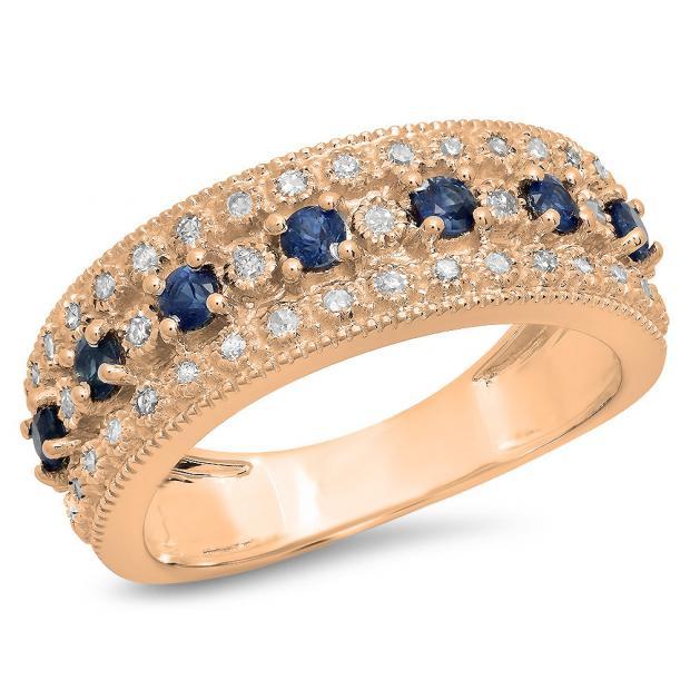 0.65 Carat (Ctw) 14K Rose Gold Round Blue Sapphire & White Diamond Ladies Bridal Anniversary Wedding Band Ring