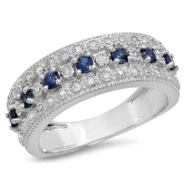0.65 Carat (Ctw) 18K White Gold Round Blue Sapphire & White Diamond Ladies Bridal Anniversary Wedding Band Ring