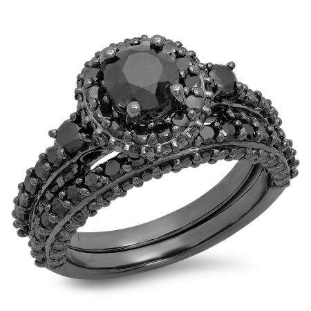 3.10 Carat (ctw) Black Rhodium Plated Sterling Silver Round Black Diamond Ladies Bridal Halo Style Engagement Ring With Matching Band Set