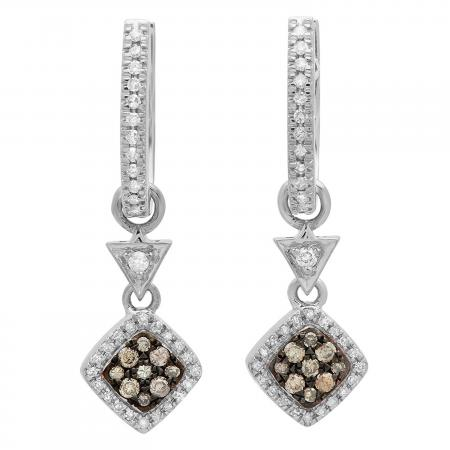 0.50 Carat (ctw) 10K White Gold Round Champagne & White Diamond Ladies Cluster Style Dangling Drop Earrings 1/2 CT