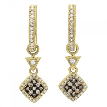 0.50 Carat (ctw) 10K Yellow Gold Round Champagne & White Diamond Ladies Cluster Style Dangling Drop Earrings 1/2 CT