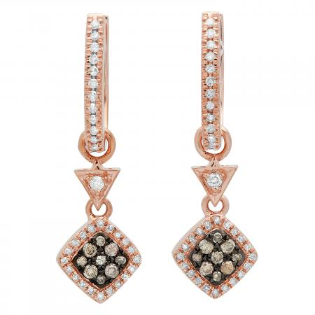 0.50 Carat (ctw) 18K Rose Gold Round Champagne & White Diamond Ladies Cluster Style Dangling Drop Earrings 1/2 CT