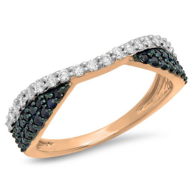 0.65 Carat (Ctw) 10K Rose Gold Round Blue Sapphire & White Diamond Ladies Anniversary Wedding Band Stackable Ring