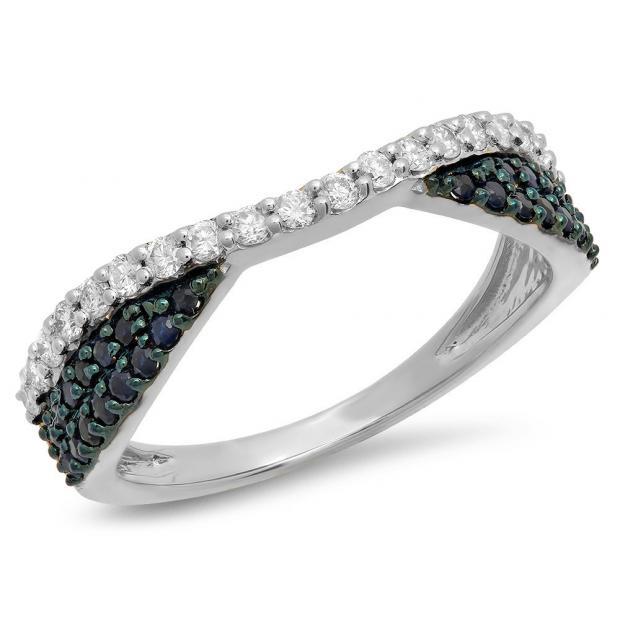 0.65 Carat (Ctw) 10K White Gold Round Blue Sapphire & White Diamond Ladies Anniversary Wedding Band Stackable Ring