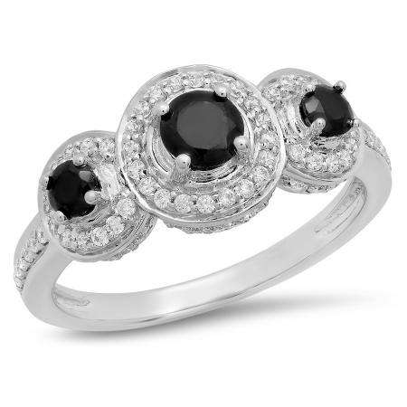 1.35 Carat (ctw) 10K White Gold Round Black Sapphire & White Cubic Zirconia CZ Classic 3 Stone Bridal Engagement Ring