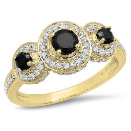 1.35 Carat (ctw) 10K Yellow Gold Round Black Sapphire & White Cubic Zirconia CZ Classic 3 Stone Bridal Engagement Ring