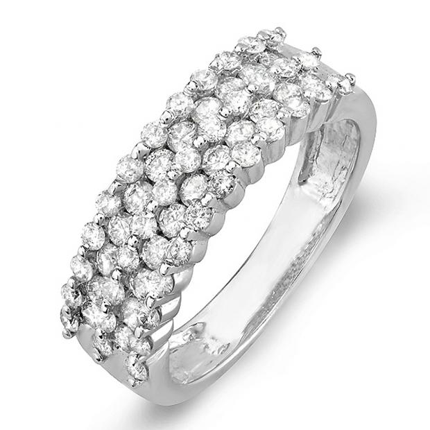 1.00 Carat (ctw) 14K White Gold Round White Diamond Ladies Bridal Anniversary Wedding Band Ring 1 CT