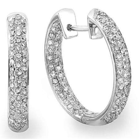 0.70 Carat (ctw) 14K White Gold Round White Diamond Fine In And Out Huggie Hoop Earrings 3/4 CT