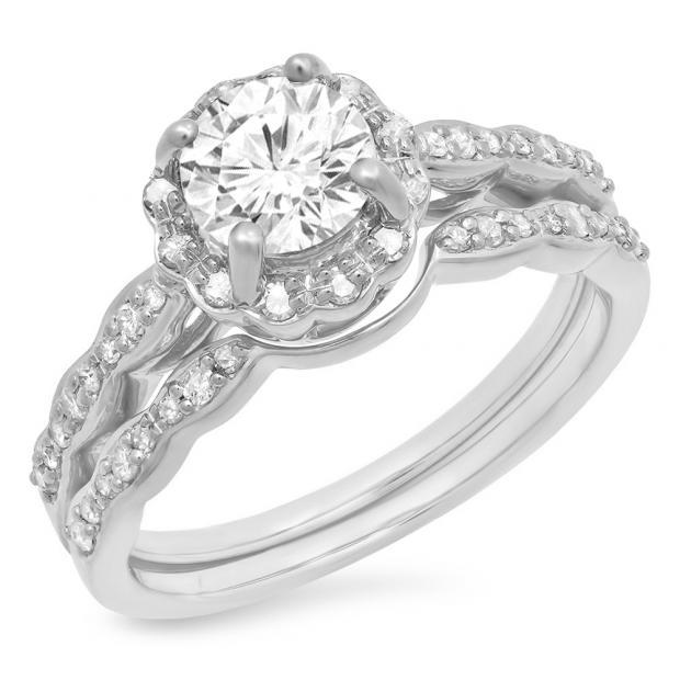 0.90 Carat (ctw) 18K White Gold Round White Moissanite & Real Diamond Ladies Bridal Halo Style Engagement Ring With Matching Band Set