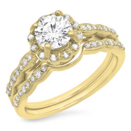 0.90 Carat (ctw) 18K Yellow Gold Round White Moissanite & Real Diamond Ladies Bridal Halo Style Engagement Ring With Matching Band Set