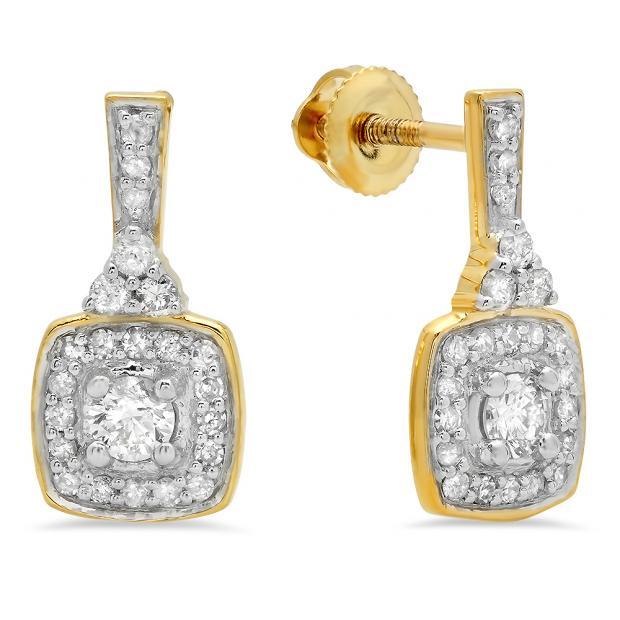 0.50 Carat (ctw) 10K Yellow Gold Round White Diamond Ladies Halo Style Dangling Earrings 1/2 CT