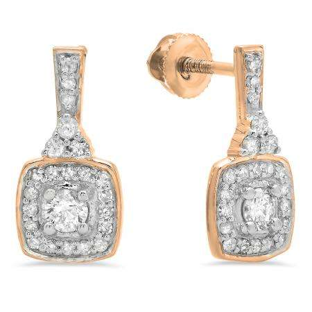 0.50 Carat (ctw) 18K Rose Gold Round White Diamond Ladies Halo Style Dangling Earrings 1/2 CT