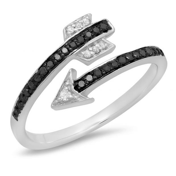 0.15 Carat (ctw) Sterling Silver Round Black & White Diamond Ladies Bridal Vintage Right Hand Arrow Ring