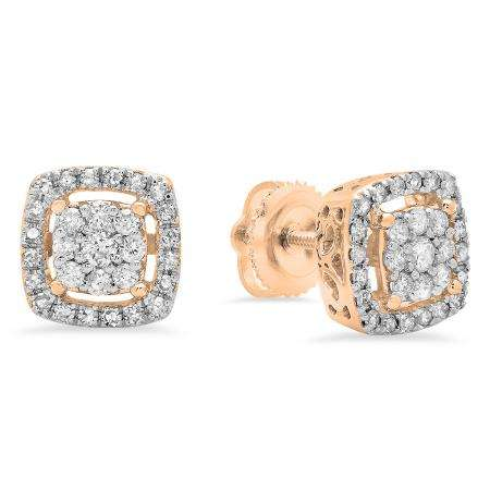 0.50 Carat (ctw) 14K Rose Gold Round White Diamond Ladies Cluster Style Stud Earrings 1/2 CT