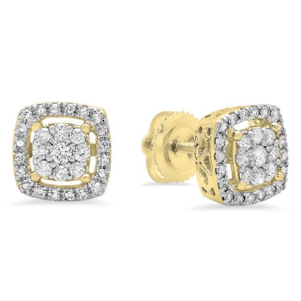 0.50 Carat (ctw) 14K Yellow Gold Round White Diamond Ladies Cluster Style Stud Earrings 1/2 CT