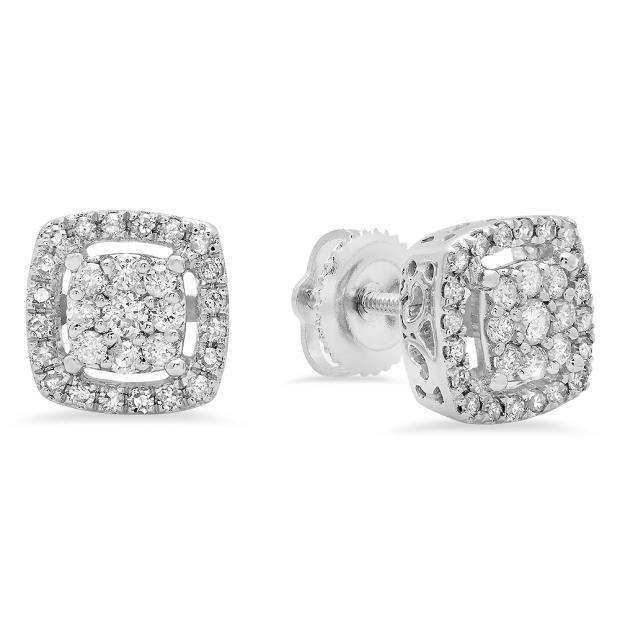 0.50 Carat (ctw) 18K White Gold Round White Diamond Ladies Cluster Style Stud Earrings 1/2 CT