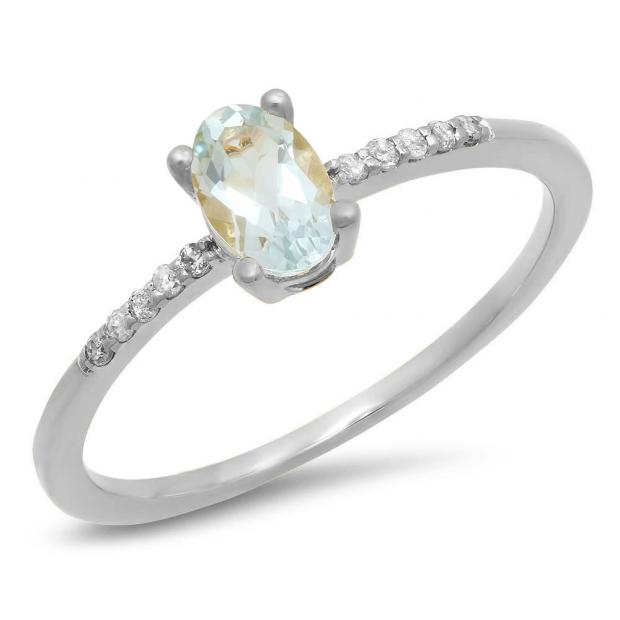 0.50 Carat (ctw) 10K White Gold Oval Cut Aquamarine & Round Cut White Diamond Ladies Bridal Engagement Promise Ring 1/2 CT